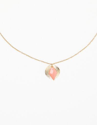 Collar dorado rombo rosa - Collares - Nícoli