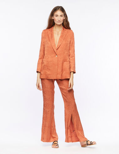Orange jacquard flared trousers - View all > - Nícoli