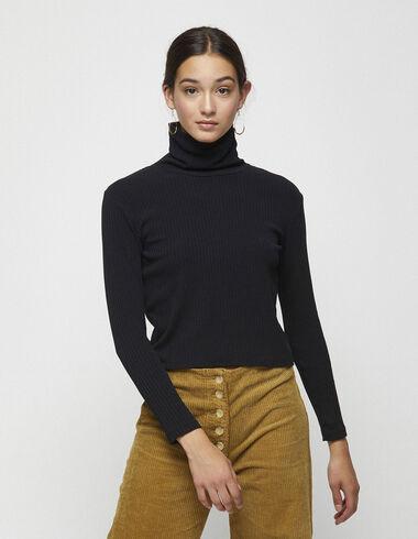 Black ribbed high neck top - T-shirts - Nícoli