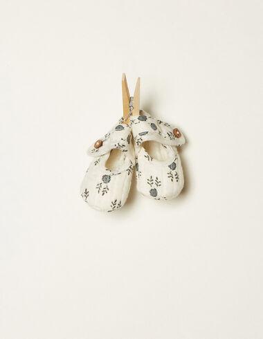 Zapato botones flor ramitas azul - Ver todo > - Nícoli