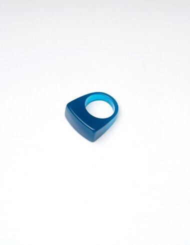 Anillo semi redondo resina azul brillante - New Autumn Drops - Nícoli