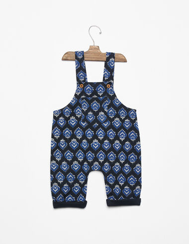 Anthracite buti print dungarees with pockets - View all > - Nícoli