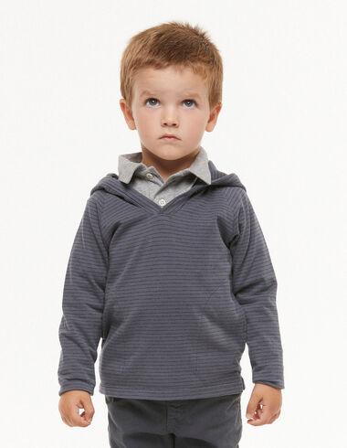 Sweat-shirt petites rayures bleu - Pulls et Sweatshirts - Nícoli