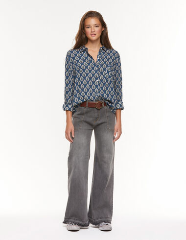 Grey wide leg jeans with pockets - View all > - Nícoli