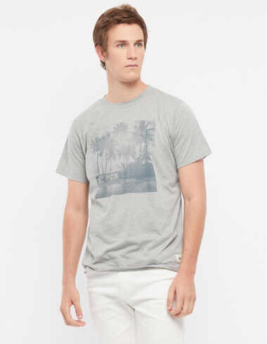 Tee-shirt solidaire gris ' palmier ' - Palm Trees - Nícoli