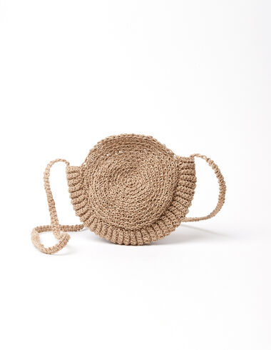 Tan raffia crossbody bag - Pink & White - Nícoli