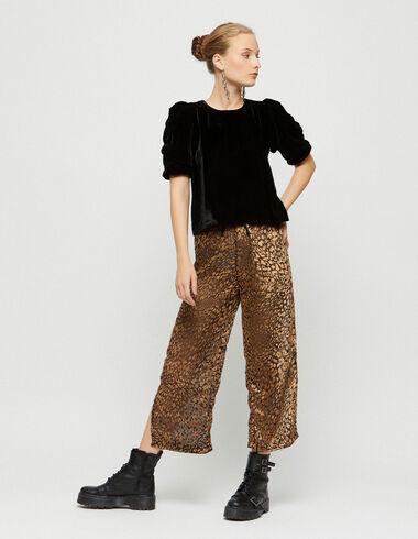 Nut animal print velvet trousers with slits - Christmas - Nícoli