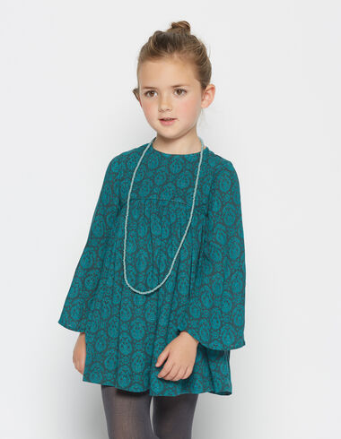Girl's green paisley bell sleeve dress - View all > - Nícoli
