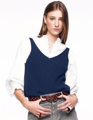 Blue ribbed top - View all > - Nícoli
