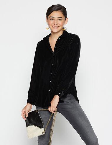 Girl's black velvet blouse - Shirts - Nícoli