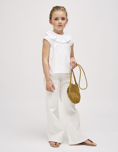 Pantalon large blanc à poches - Pantalons - Nícoli