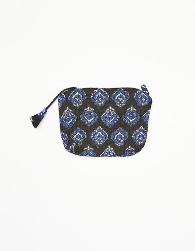 Anthracite and blue buti print wallet - Coin purses - Nícoli