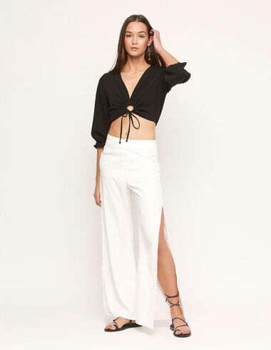 Ecru trousers with slits - Summer Plans - Nícoli