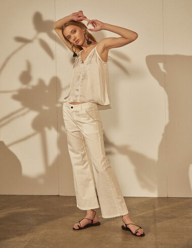 White wide leg trousers with pockets - Clothing - Nícoli