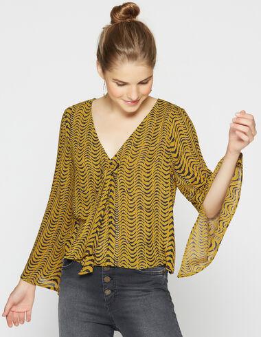 Camisa chica lazada cebra mostaza - Camisas - Nícoli