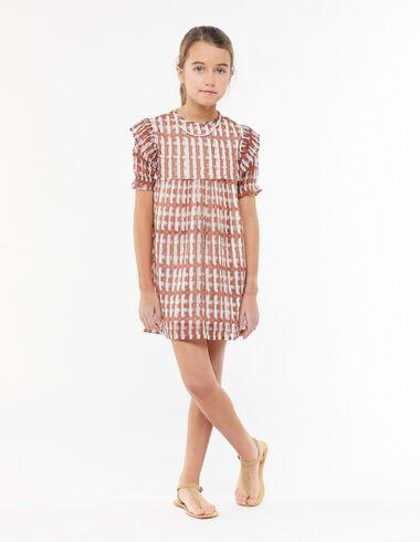 Orange ikat print short ruffle dress - The Spring Colour For Kids - Nícoli