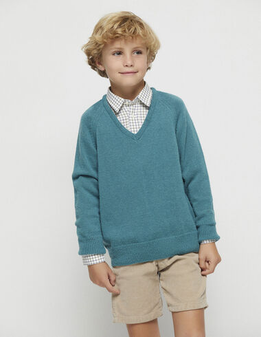 Boy´s green v-neck jumper - View all > - Nícoli