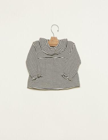 T-shirt col volant petites rayures écru et anthracite - Tee-shirts - Nícoli
