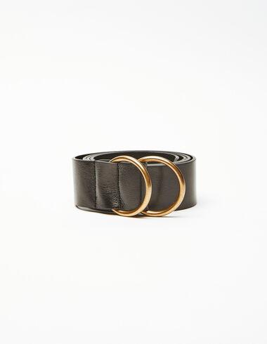 Black double round buckle belt - Wishlist By Olivia - Nícoli
