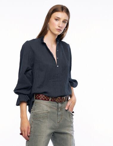 Camisa cuello encaje jaretas antracita - Camisas - Nícoli