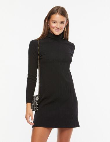 Vestido cuello vuelto canalé negro  - Ver todo > - Nícoli