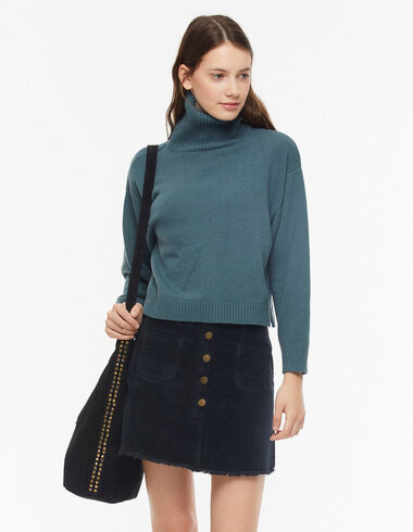 Black corduroy skirt with buttons - View all > - Nícoli