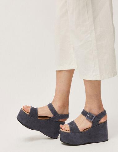 Sandales compensées bleu foncé - Chaussures - Nícoli
