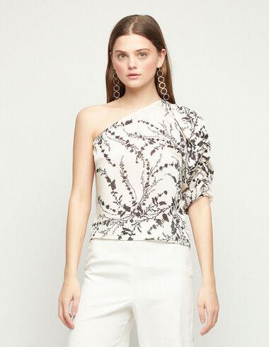 Ecru asymmetric floral shirt - Summer Plans - Nícoli