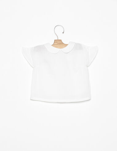 Chemise col Claudine ailettes blanche - Voir tout > - Nícoli