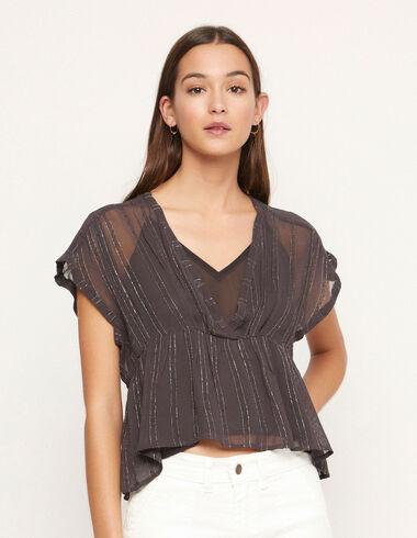 Camisa escote pico gasa rayas antracita - Ver todo > - Nícoli