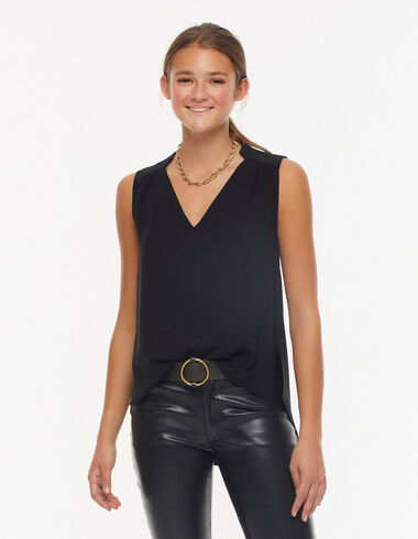Black v-neck top - Blouses and Tops - Nícoli
