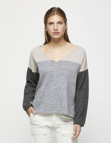 Pull col V tricolore  - Pulls et Sweatshirts - Nícoli