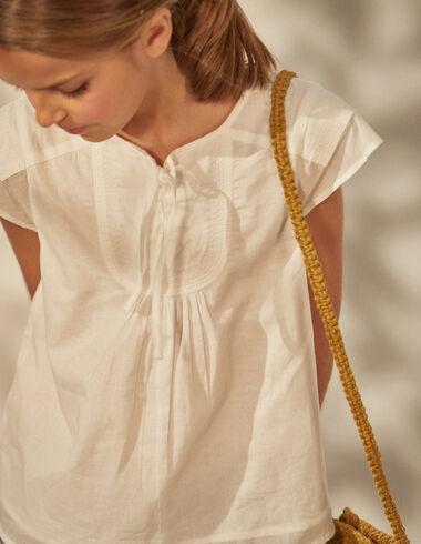 Chemise blanche à lacet fille - Chemises - Nícoli