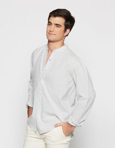 Boy's blue striped mandarin collar shirt - View all > - Nícoli