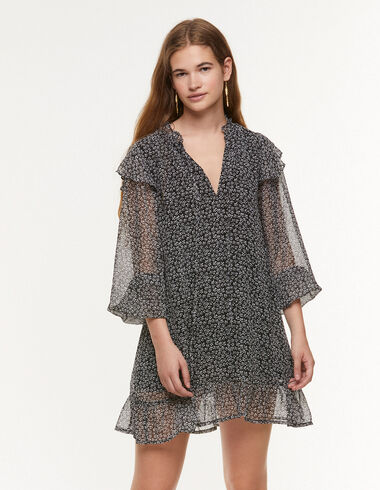 Anthracite floral perkins neck dress - Dresses - Nícoli