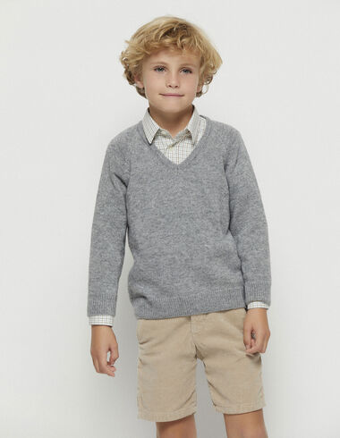 Boy´s grey v-neck jumper - Jumpers & Sweatshirts - Nícoli