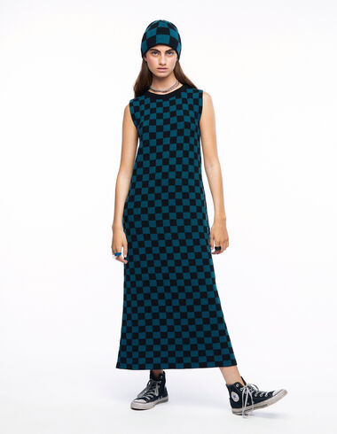 Long green and black checked dress - The Square Print - Nícoli