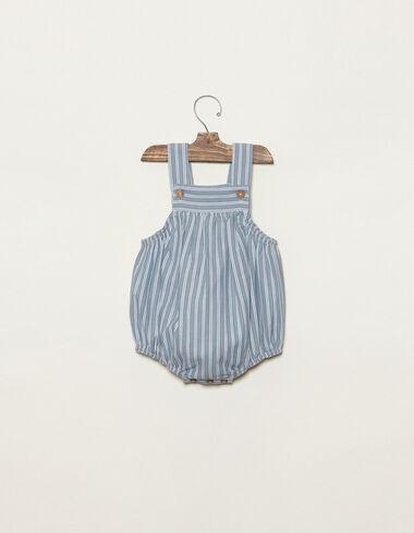 Blue romper buttons ecru/green stripes - View all > - Nícoli