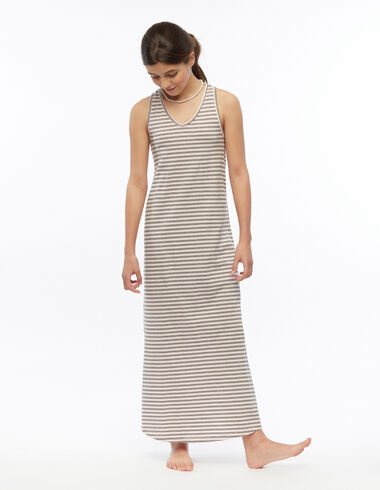 Robe longue rayure rose et anthracite - Robes - Nícoli