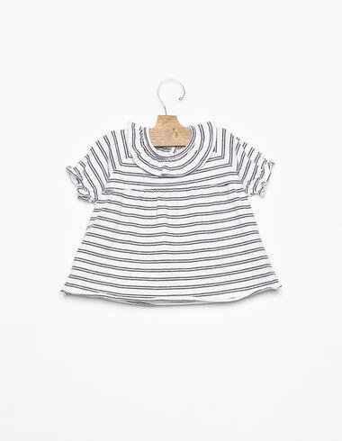 T-shirt col volant rayure blanc et anthracite - Bebé - Nícoli