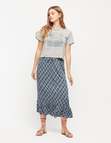 Blue leaves long skirt - View all > - Nícoli