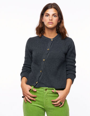 Anthracite ribbed button-up crossover jumper - View all > - Nícoli