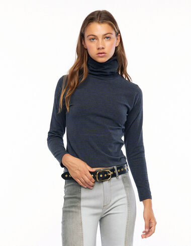 Anthracite and blue striped turtleneck T-shirt - View all > - Nícoli