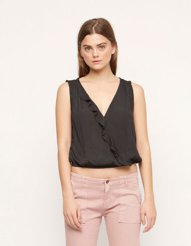 Anthracite ruffle crossed top - View all > - Nícoli