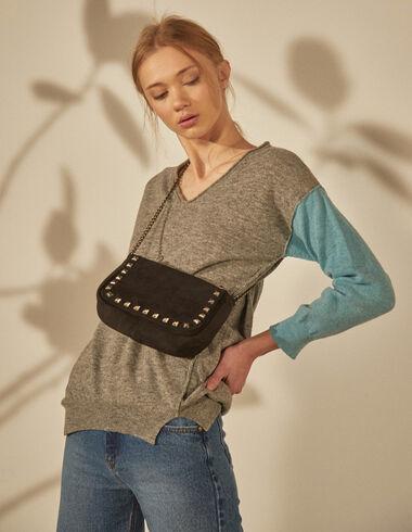 Women's  blue sleeve grey sweater - Jumpers & Sweatshirts - Nícoli