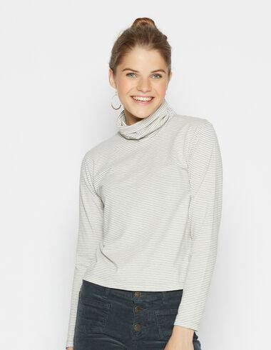 T-shirt col roulé rayé gris pour filles - Voir tout > - Nícoli