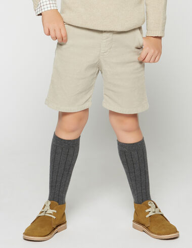 Boy's beige corduroy chino shorts - Bermudas - Nícoli