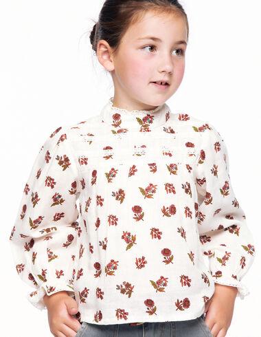Multicoloured floral lace grandad collar shirt - New Flower Print - Nícoli