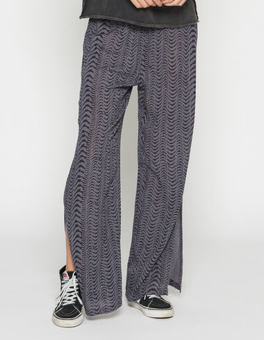 Girl's blue zebra trousers with opening - Pants - Nícoli