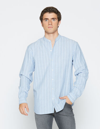 Boy's natural striped mandarin collar shirt - Shirts - Nícoli